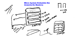 Micro System Embutido em Armario de Madeira